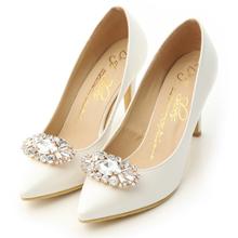 華麗寶石釦飾美形高跟鞋 珍珠白