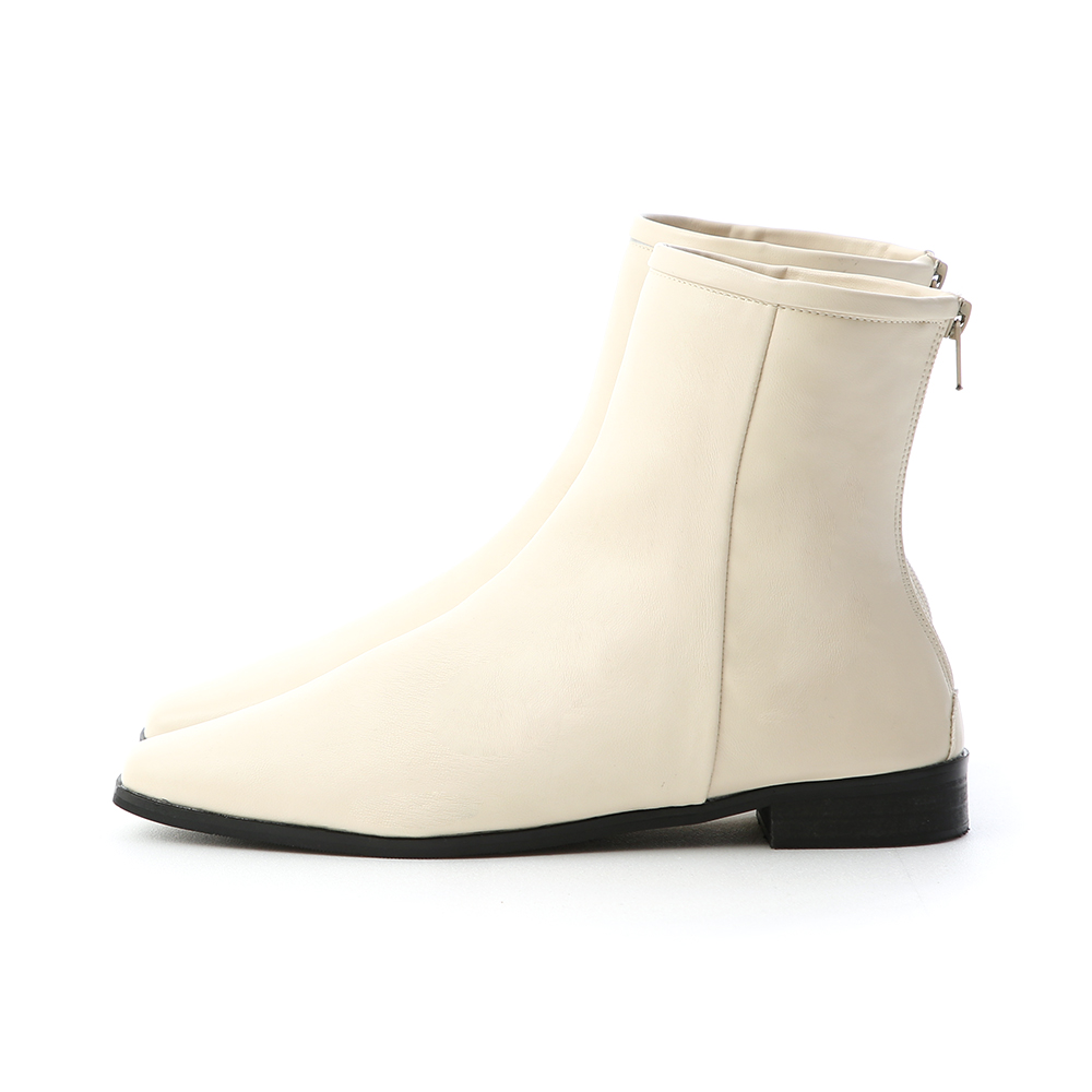 風格簡約.素面小方頭後拉鍊短靴 人氣米白