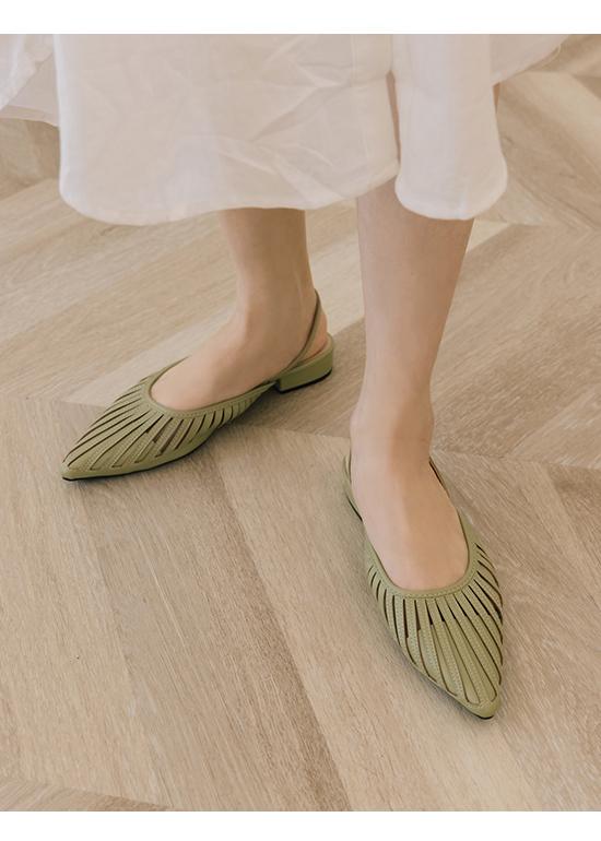 人見人愛.花形鏤空尖頭後空鞋 酪梨綠