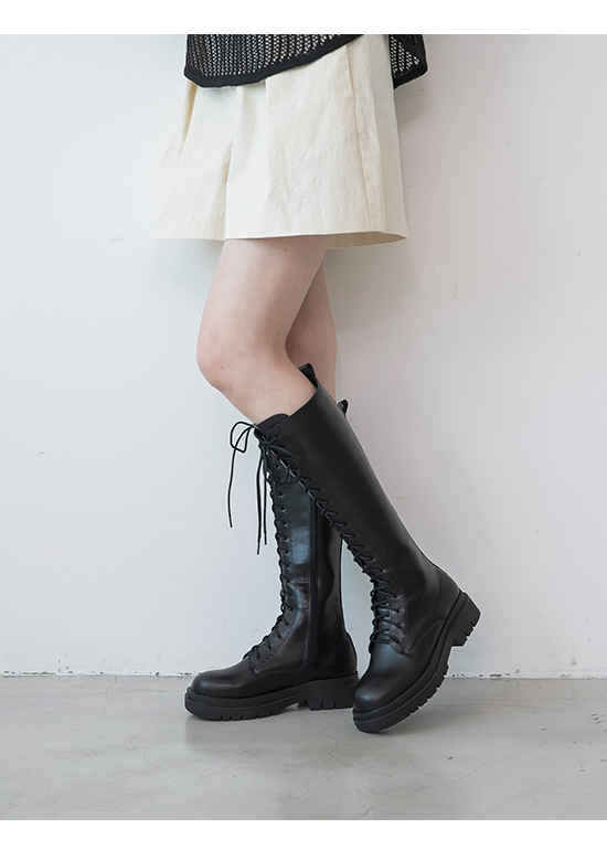 Chunky Sole Lace-Up Long Martin Boots Black