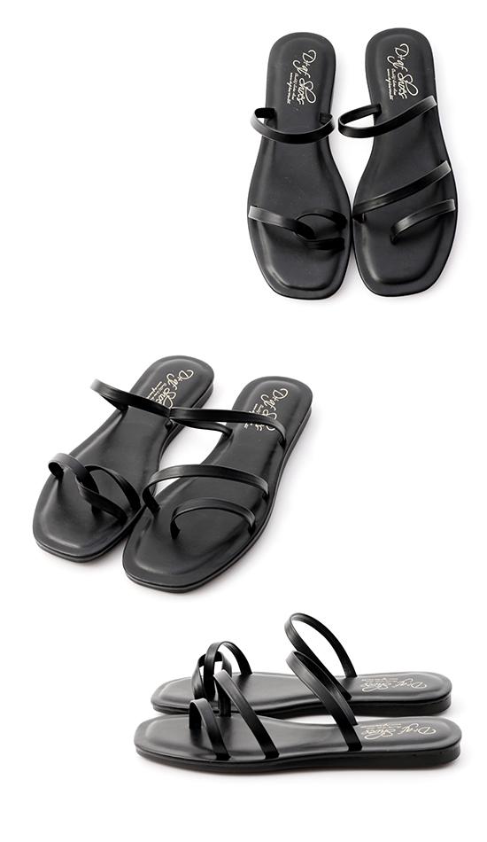Mismatched Strappy Sandals Black
