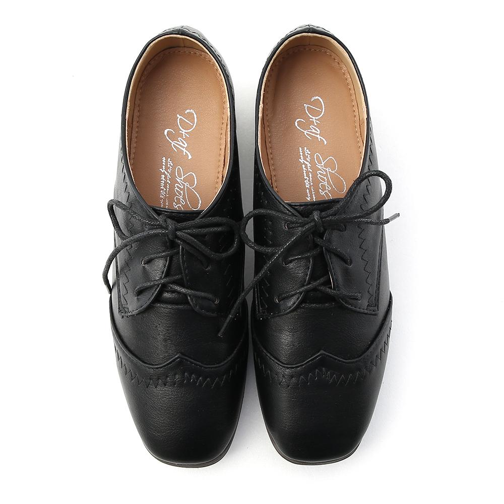 Stitch Detail Lace-Up Oxfords Black