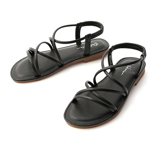 美好假期.交叉細帶超軟Q底涼鞋 時尚黑