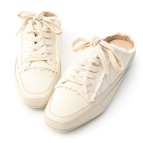 D+AF 自在主打.帆布抽鬚方頭休閒穆勒鞋