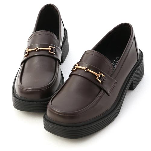 復古學院.馬銜釦加厚底樂福鞋
