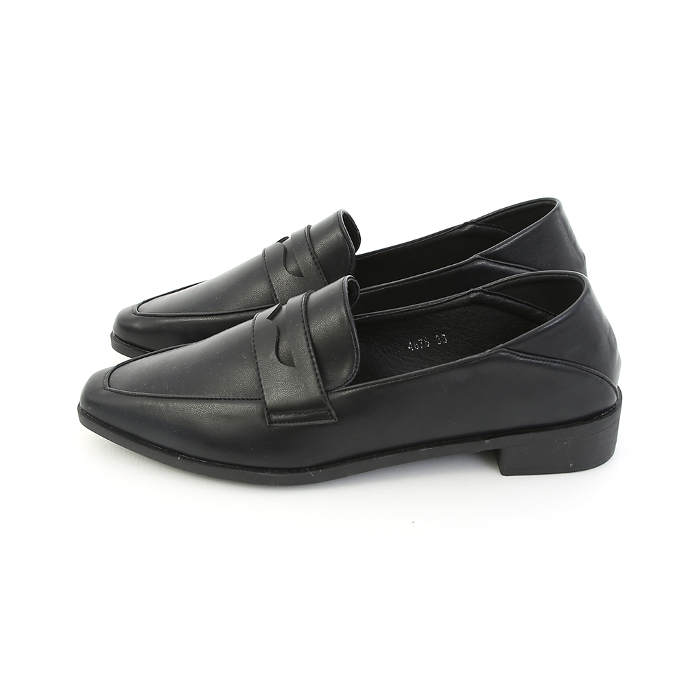 Classic Pointed Toe Penny Loafers Black