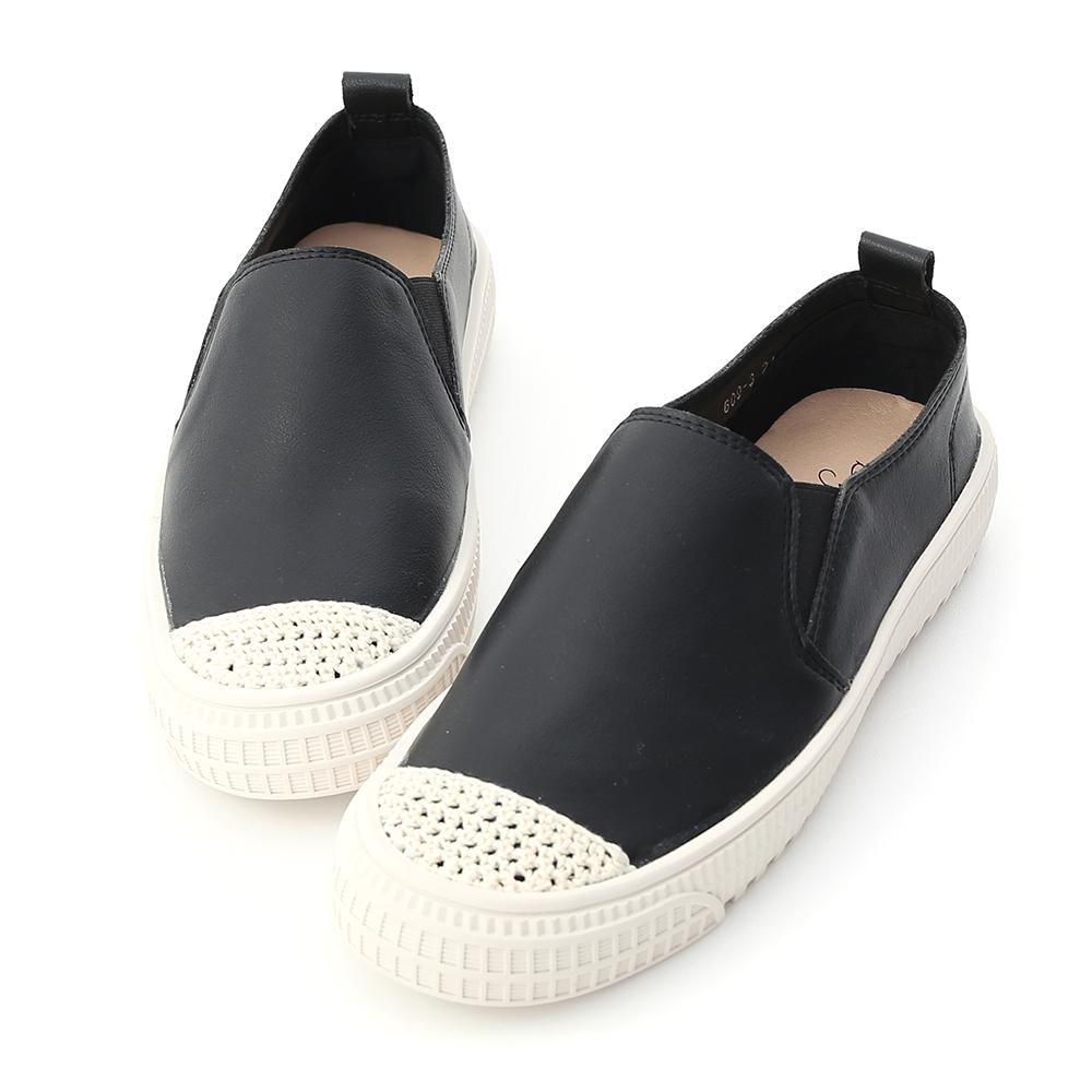 隨性漫步.針織鞋頭平底懶人鞋 時尚黑