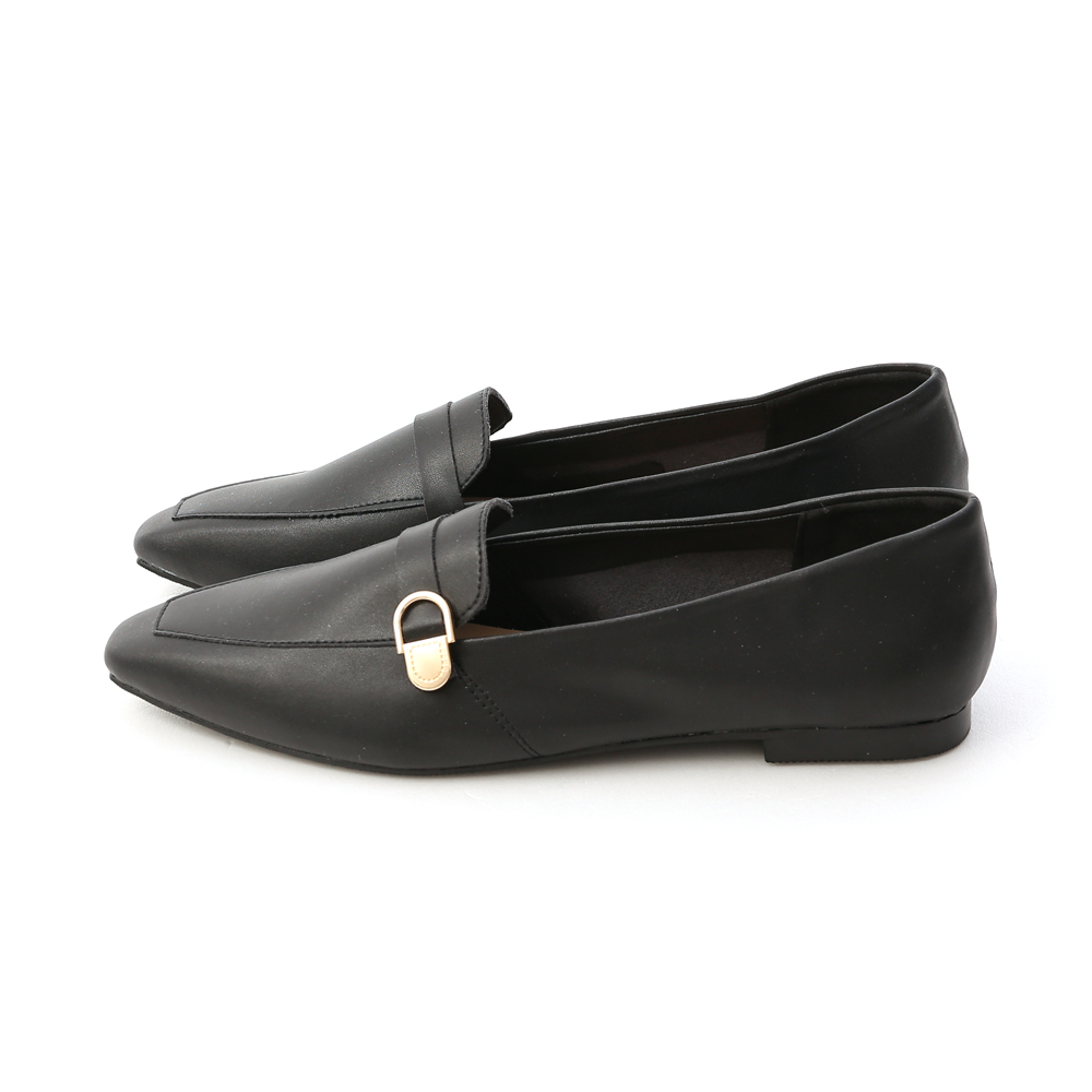 Gold Buckle Pointed Toe Loafers Black