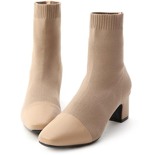 D+AF 名媛魅力.小香風拼接針織中跟襪靴