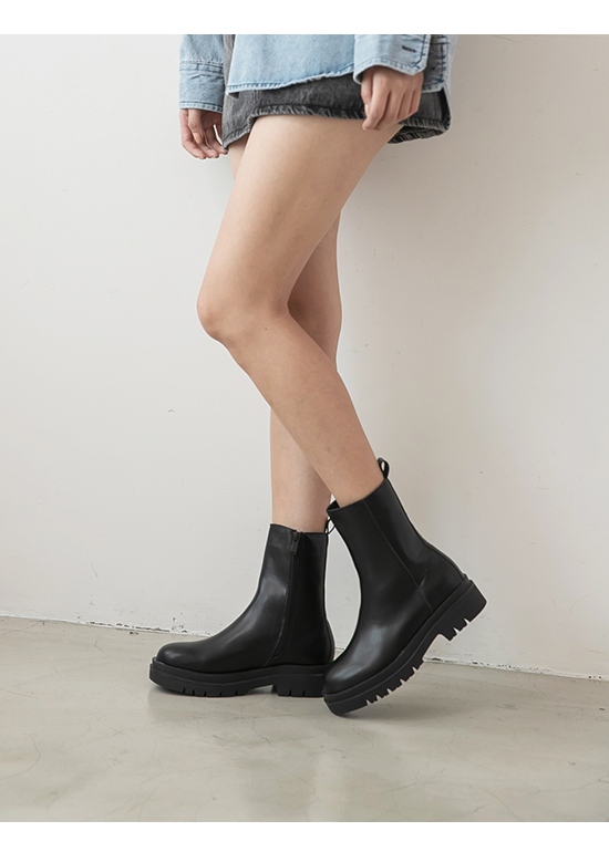 Thick Sole Side Zipper Boots Black