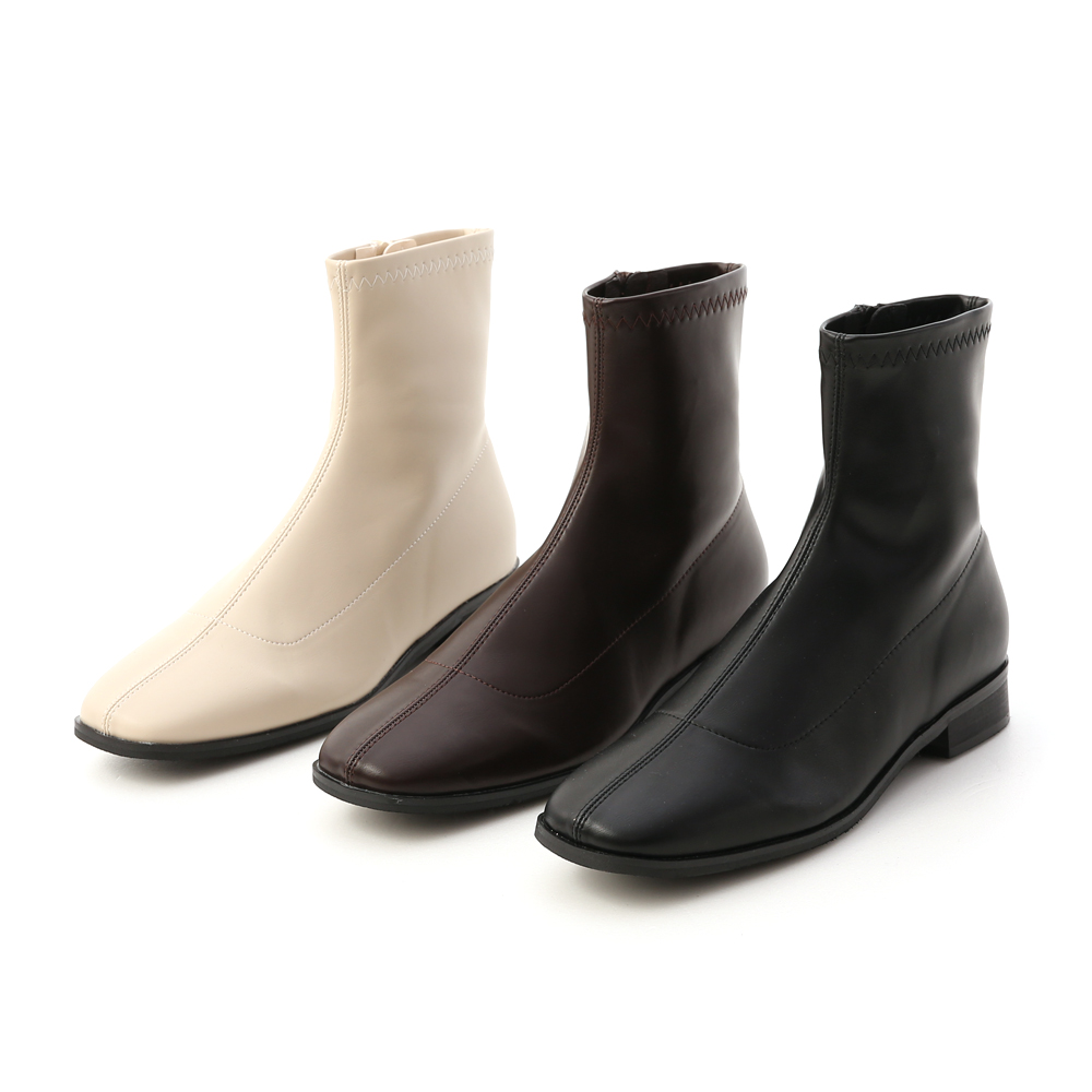 Square Toe Low Heel Sock Boots Off-White