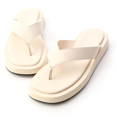 沙灘漫步.人字寬帶夾腳厚底拖鞋