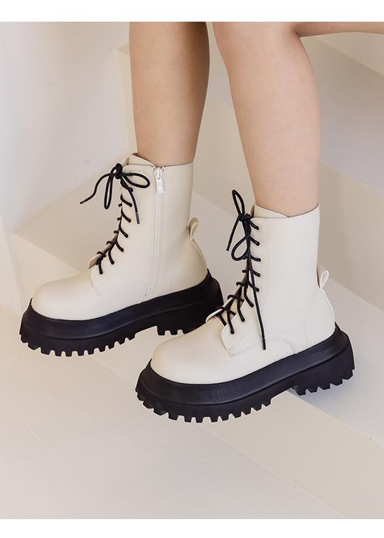 率性前衛.鬆糕厚底綁帶馬汀短靴 百搭米
