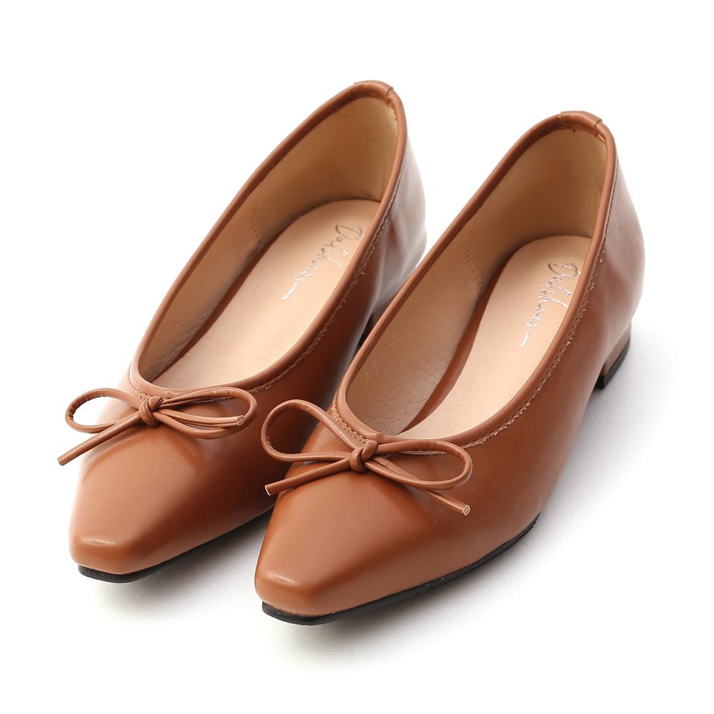 漫步女孩.尖頭低跟芭蕾娃娃鞋 焦糖棕