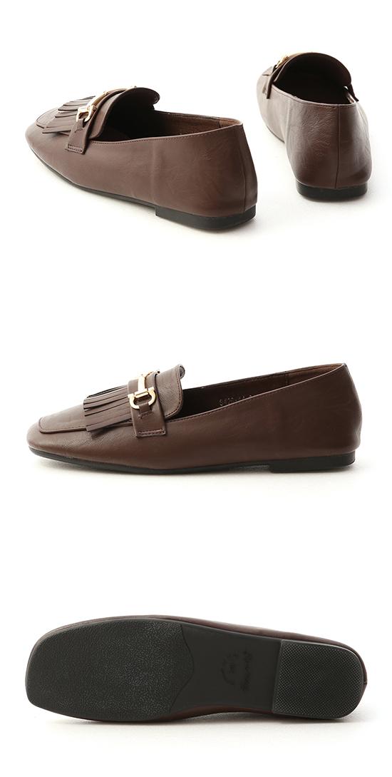 Square Toe Tassel Horsebit Loafers Brown