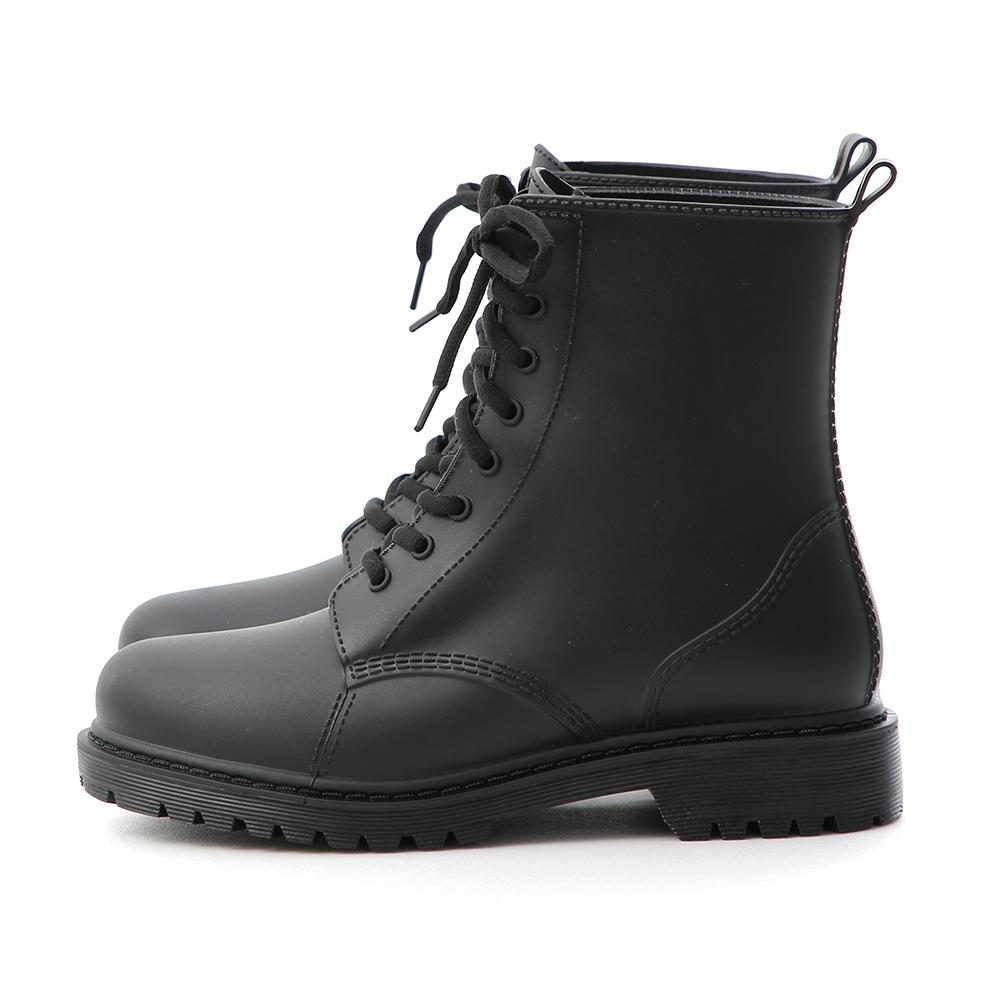 率性日常.綁帶造型馬汀雨靴 時尚黑