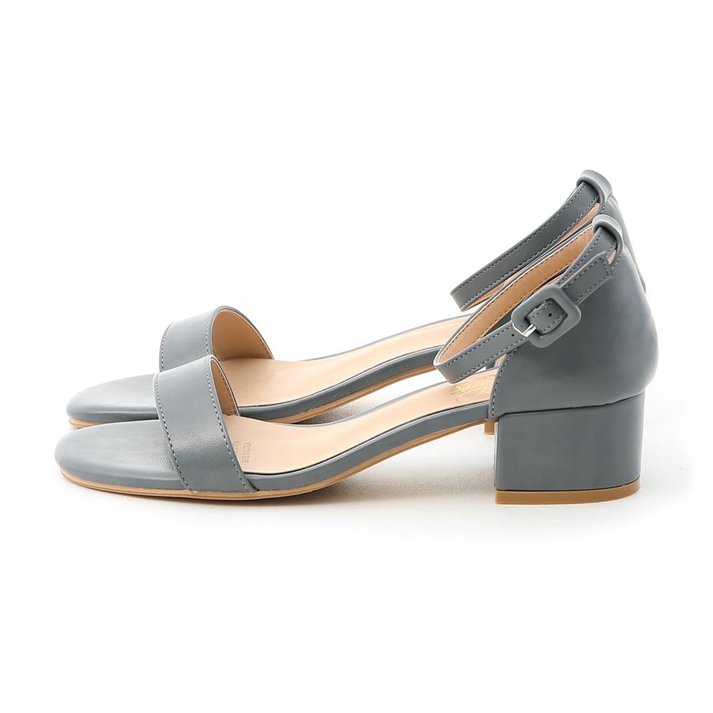 Ankle-Strap Low Heel Sandals Blue