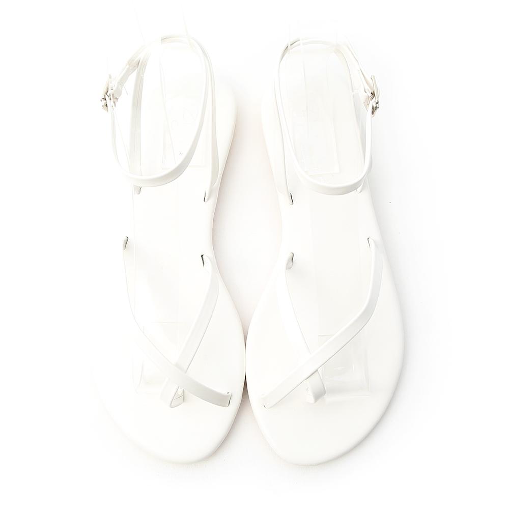 輕快漫步.交叉套指繫踝平底涼鞋 人氣白