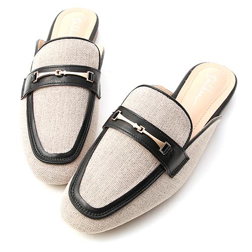 愜意經典.馬銜釦拼接平底穆勒鞋