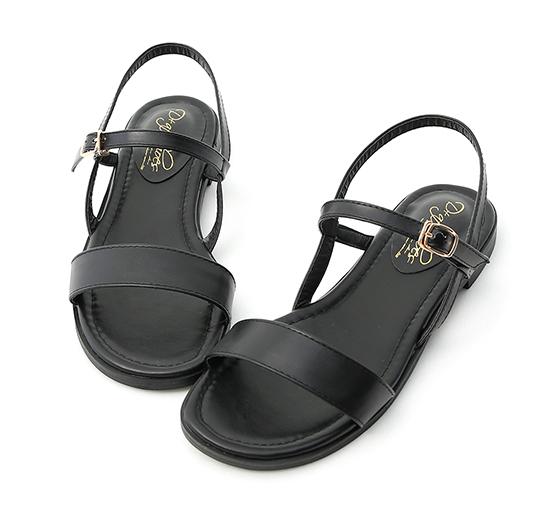自信漫步.一字寬版繫帶平底涼鞋 時尚黑
