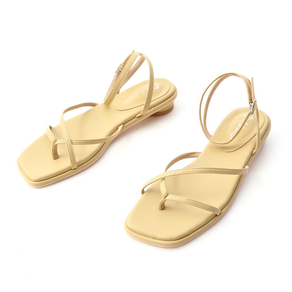 清新主張.細帶夾腳小圓跟涼鞋 蛋蜜黃