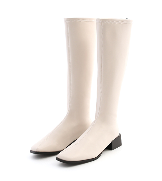 明星單品.斜車線方頭積木跟長靴 香草米白