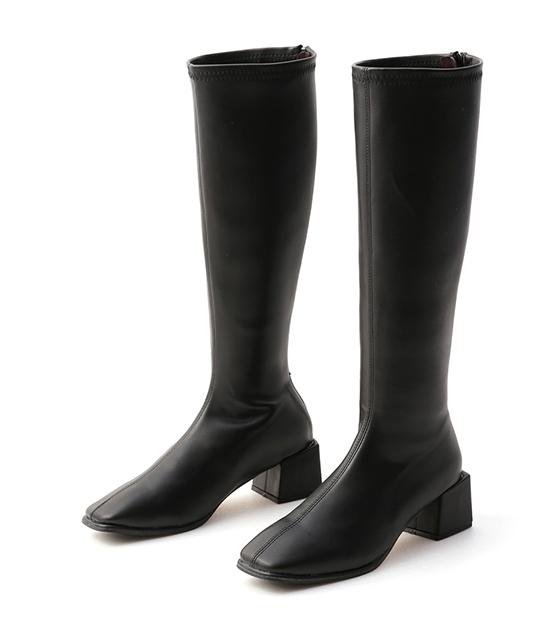 氣質好感.素面方頭積木跟長靴 時尚黑