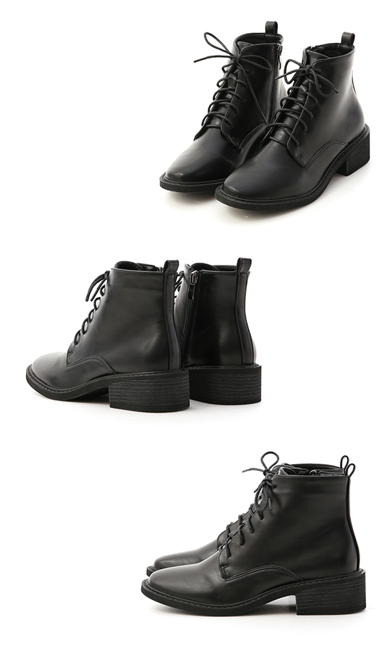 Round Toe Lace-Up Martin Boots Black