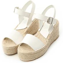 一字厚底楔型草編涼鞋
