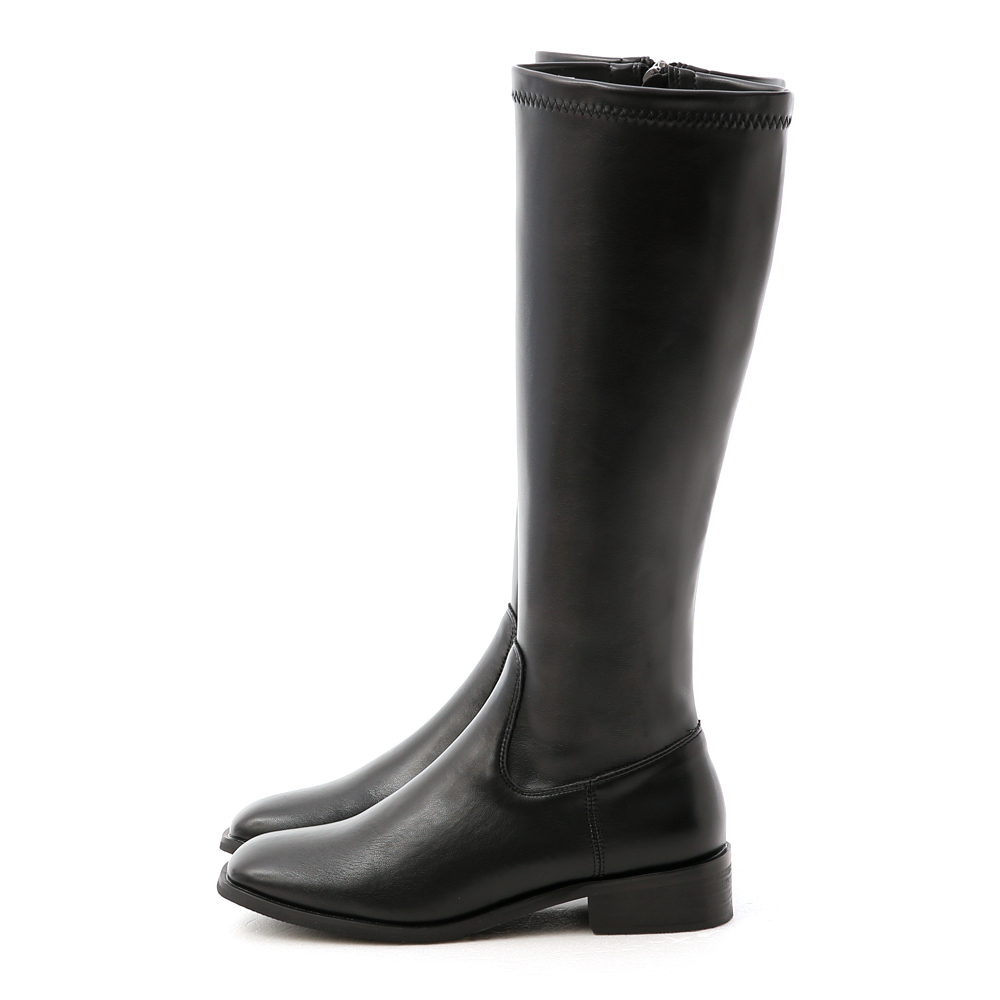 Plain Tailored Knee-Height Boots Black