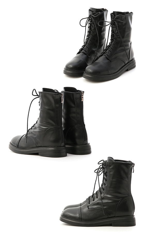 Soft Faux Leather Lace-Up Mid-Tube Boots Black