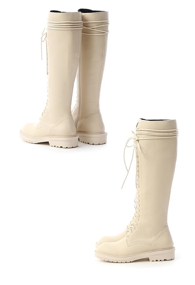 街拍潮模.圓頭綁帶長筒馬汀靴 人氣米白