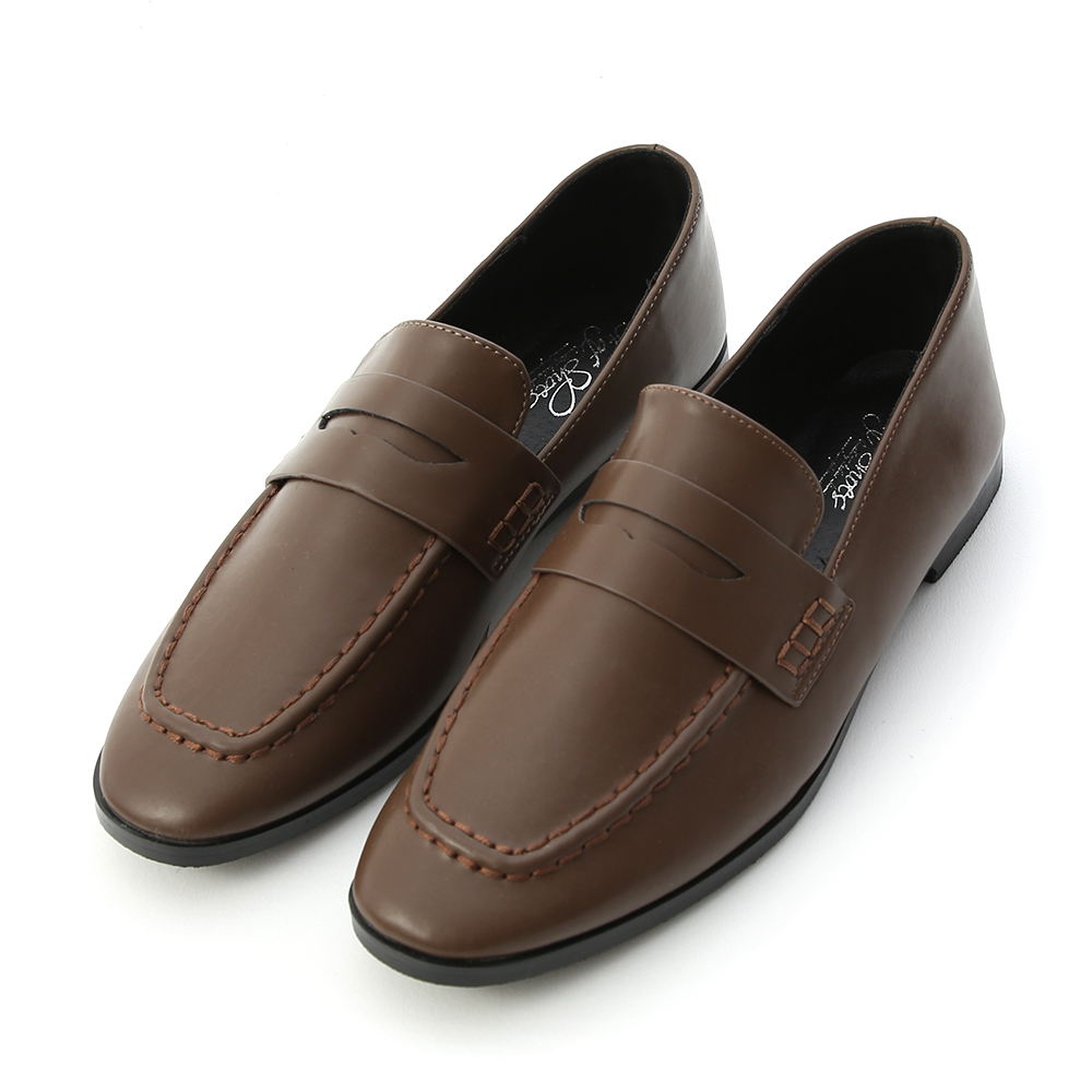 Classic Square Toe Loafers Brown