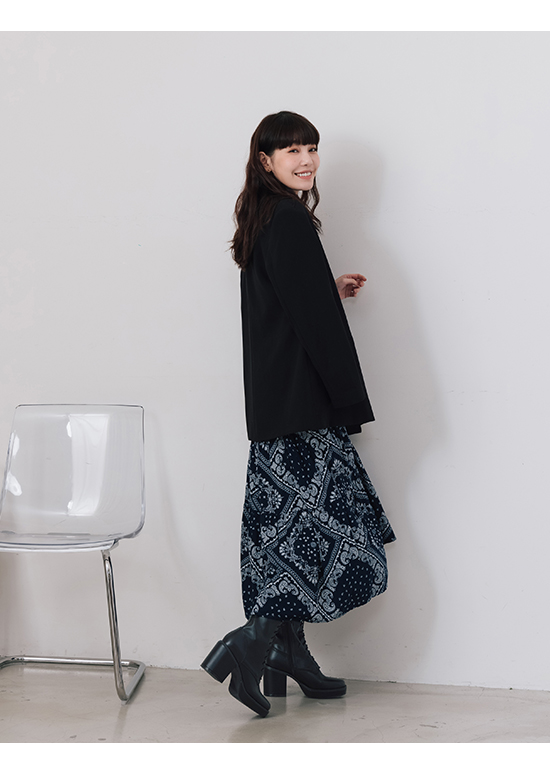 Platform Square Toe Lace-Up Boots Black