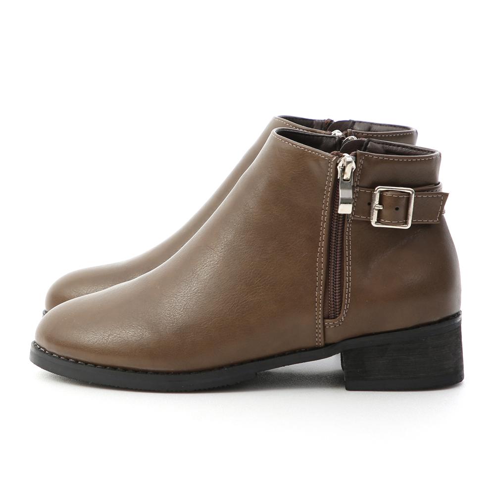 潮流主打.金屬釦環側拉鍊短靴 復古咖