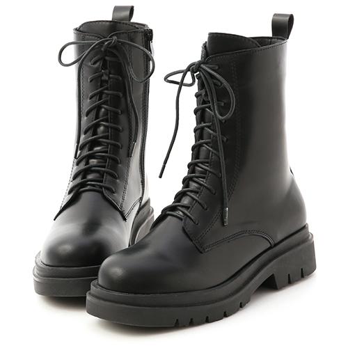 D+AF 酷帥有型.鬆糕底綁帶中筒馬汀靴