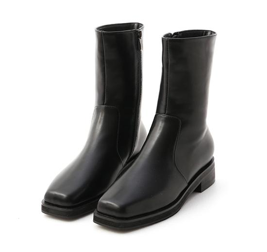 百搭潮流.素面方頭低跟中筒靴 時尚黑