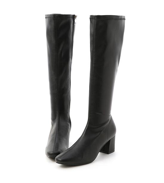 冬氛好感.素面中車線高跟長靴 時尚黑