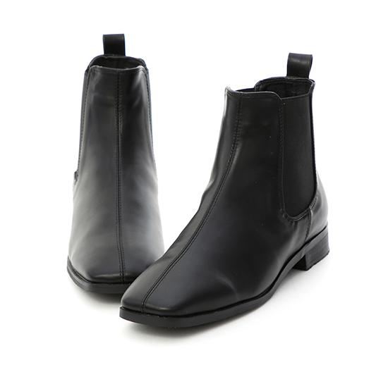 話題主角.復古方頭切爾西短靴 時尚黑