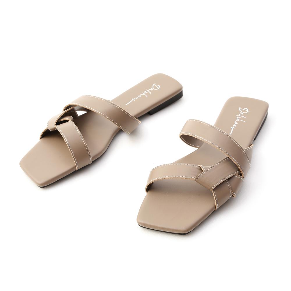 歐美指標.扭結設計方頭平底拖鞋 摩卡灰