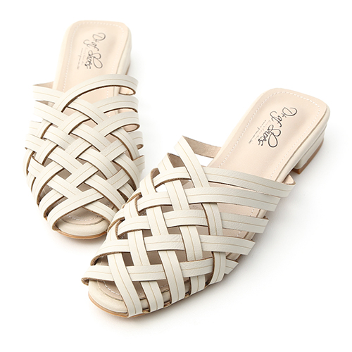 復古私著.層次感編織低跟穆勒鞋