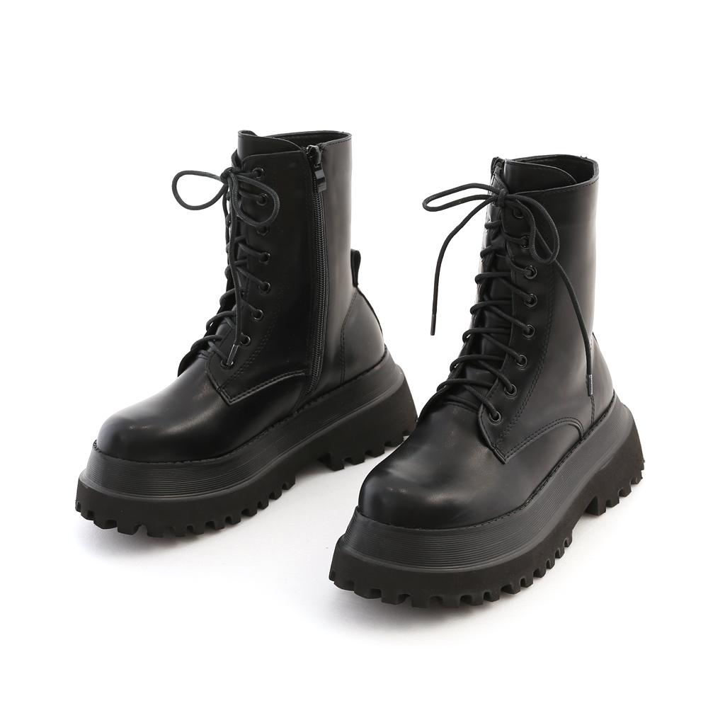 率性前衛.鬆糕厚底綁帶馬汀短靴 時尚黑