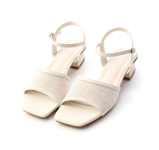 南法風情.亞麻布拼接低跟涼鞋 香草米白
