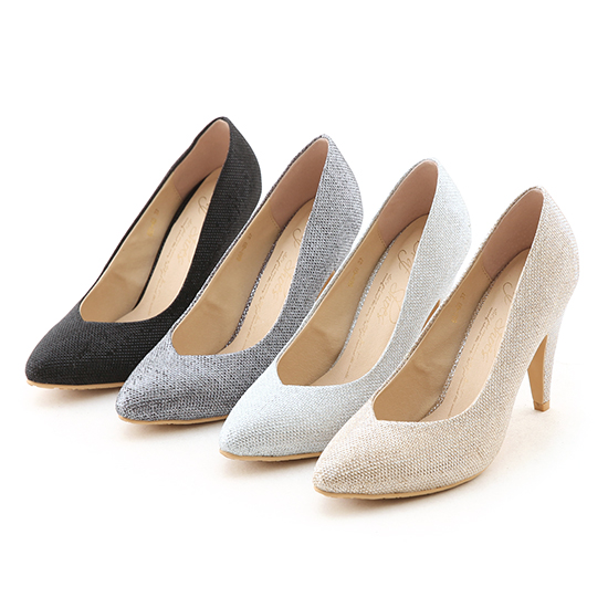 Lurex V-Cut Pointed Toe High Heels Silver