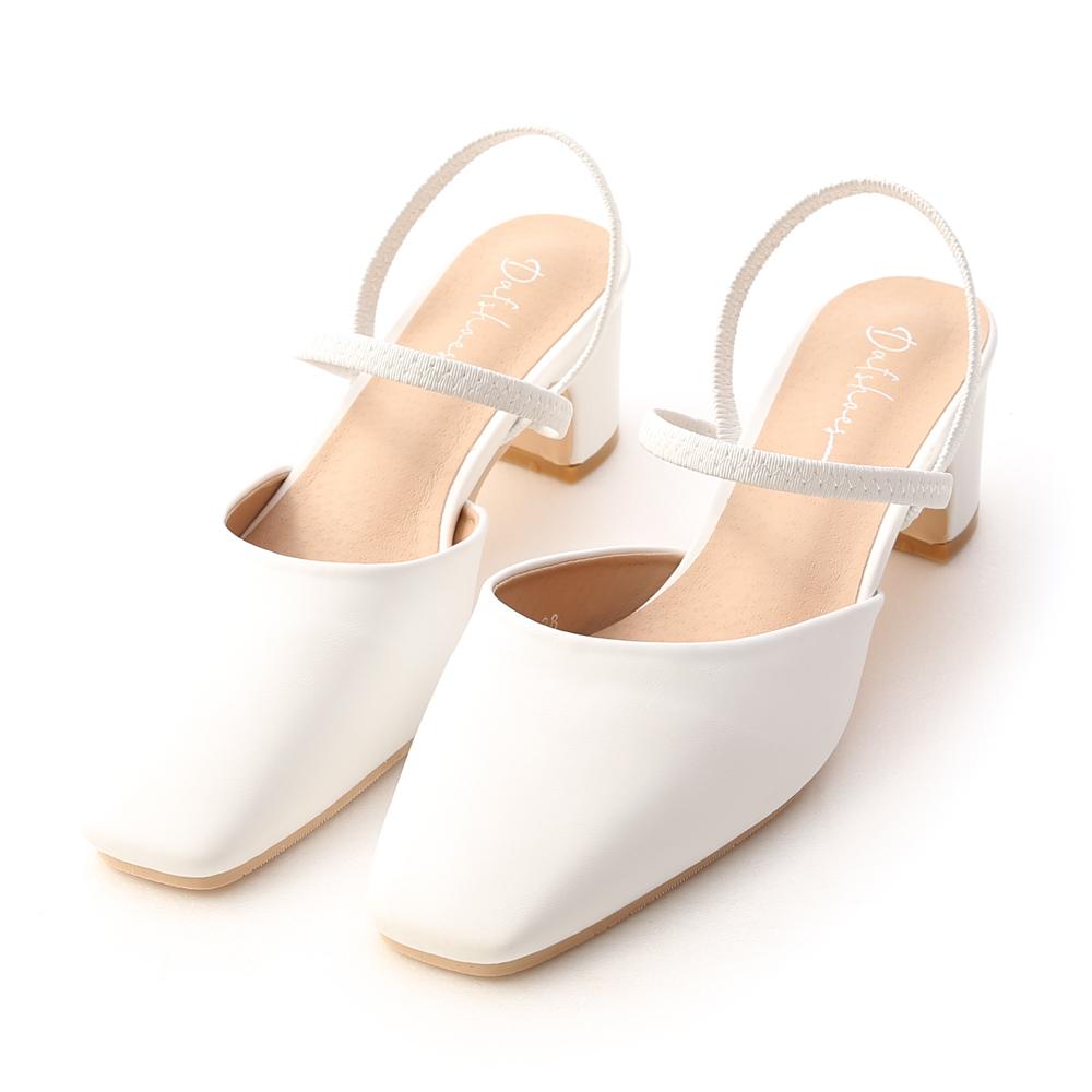 仙女日常.方頭細帶二穿後空跟鞋 時尚白