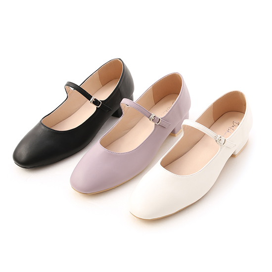 Round Toe Strappy Low Heel Mary Jane Shoes White