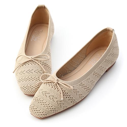 清新雅緻.花紋針織芭蕾娃娃鞋
