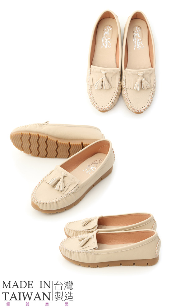 MIT Tassel and Fringe Detail Platform Moccasins Off-White