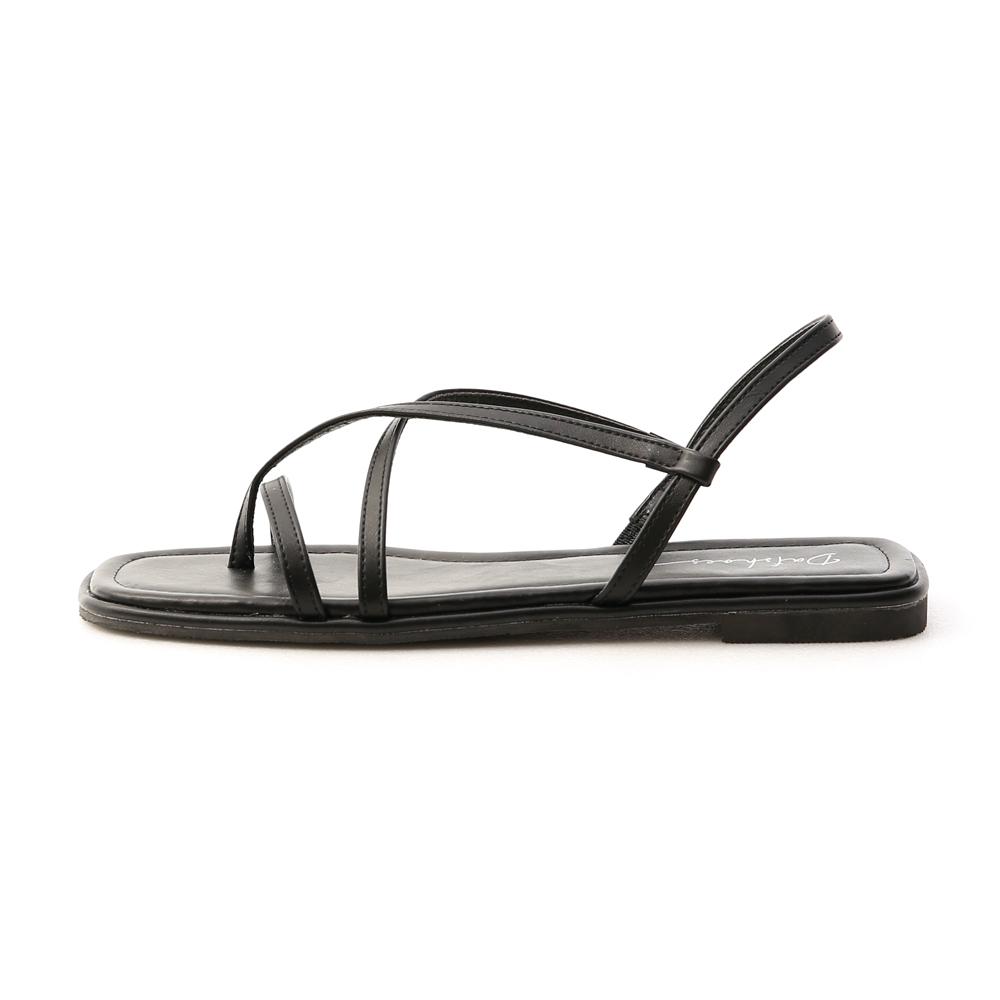 涼涼夏天.一字方頭平底夾腳涼鞋 時尚黑