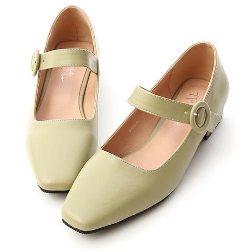 韓系清新.方頭低跟瑪莉珍鞋